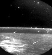 Earth-orbiting MSX satellite recorded these Leonid meteors in 1997.