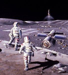 astronauts on the moon