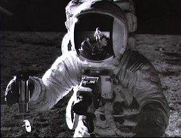 This is a picture of Pete Conrad on the Moon.