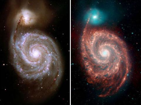 Two four-color composite images of the whirlpool galaxy. The image on the left is visible light. The image on the right shows emissions from wavelengths 10 times longer than those seen by the human eye