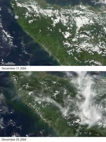 This pair of images from NASA's Terra satellite shows the Aceh province of northern Sumatra, Indonesia, on December 17, 2004, before the earthquake, and on December 29, three days after