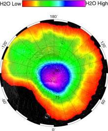 H2O content of Mars' north pole