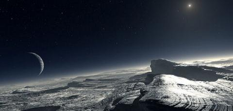 An artist's concept of frosty Pluto.