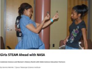 "Portion of a STAR_Net page with image of two girls and the title ""Girls STEAM Ahead with NASA"""