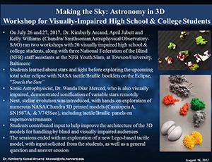 "Thumbnail of PowerPoint slide entitled ""Making the Sky: Astronomy in 3D: Workshop for Visually-Impaired High School & College Students"""