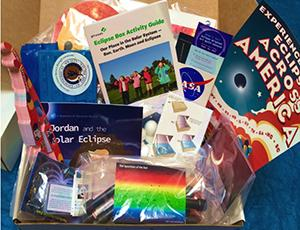 Box of solar eclipse materials