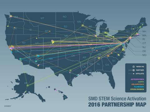 SMD STEM Science Activation 2016 Partnership Map of the U.S. depicting HQ partnerships and affiliations of five divisions