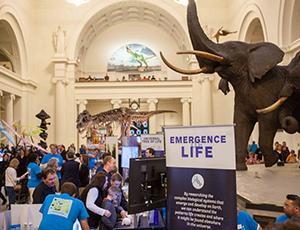 Crowds of people interact with NASA displays at Chicago's Field Museum