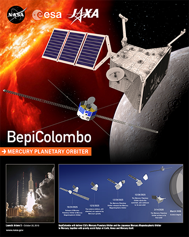 Artist concept of BepiColumbo satellite in space