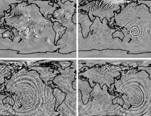 A model simulation illustrating how gravity waves kicked off by a cyclone east of Australia build as they travel toward space