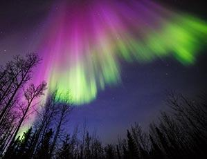 Image of green and purple aurora taken October 2015