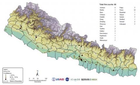 Map showing fire counts in Nepal
