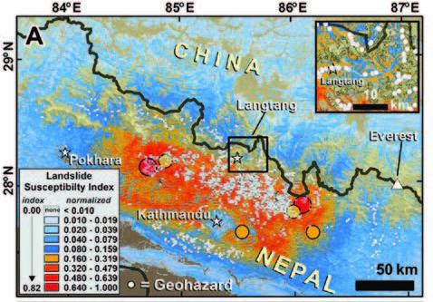 Map of landslide susceptibility in Nepal