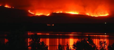 wildfire burning