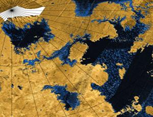 RADAR composite of Titan with dark blue areas representing liquid hydrocarbon and tan areas representing dry land.