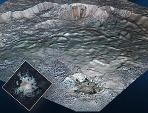 Dawn's high-resolution topographic model of the Occator Crater with an overlay of its central pit