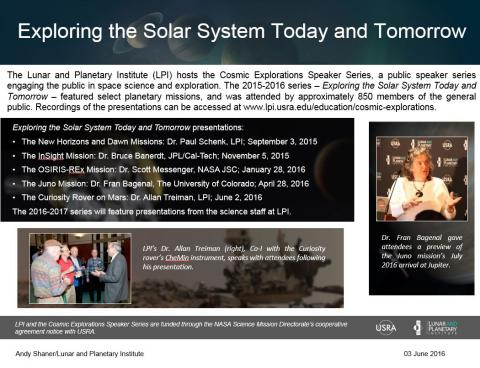 "Thumbnail of PowerPoint slide entitled ""Exploring the Solar System Today and Tomorrow"""