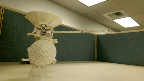 Photo of assembled paper model of Cassini spacecraft