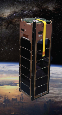 Illustration of a rectangular satellite in orbit