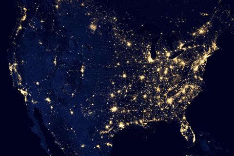 Image of city lights on earth at night