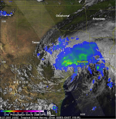 Satellite image of Hurricane Harvey's precipitation over Texas