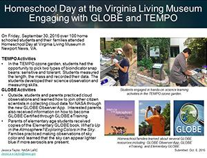 "Thumbnail of PowerPoint slide entitled ""Homeschool Day at the Virginia Living Museum: Engaging with GLOBE and TEMPO"""