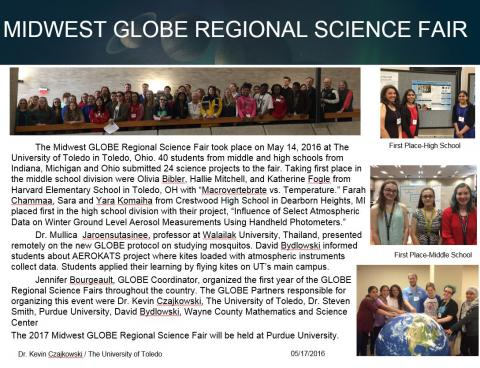 "Thumbnail of PowerPoint slide entitled ""MIDWEST GLOBE REGIONAL SCIENCE FAIR"""