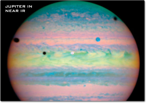 This false-color Hubble image of Jupiter shows pastel pinks, greens, yellows and blues stretched in lines across the gas planet.