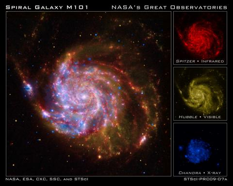 The three small images used for the composite show a galaxy in red, yellow, and blue. The composite shows all three colors together revealing a multi-colored galaxy.