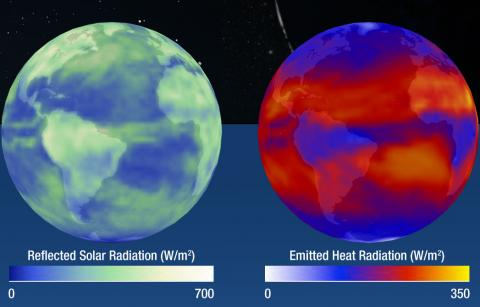 Incoming shortwave radiation enters our atmosphere and is either reflected or absorbed by the atmosphere; reflected by light colored areas on the Earth's surface such as ice and snow; or the radiation is absorbed by the surface.