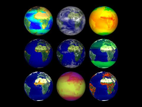 Composite image of nine earth data set visualizations