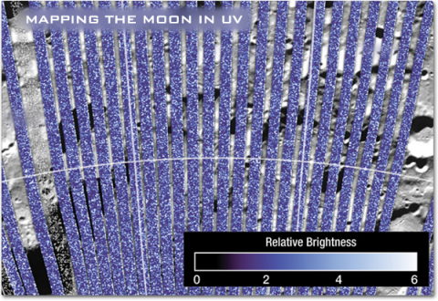 A data plot of LAMP data showing the relative brightness of ultraviolet light from stars reflecting off the moons surface.