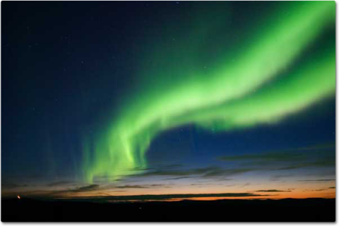 Aurora in sky, green lights