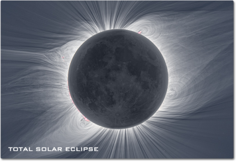 A photograph of a solar eclipse revealing the dramatic coronal streamers that are normally too faint to see over the intense light of the sun's chromosphere.