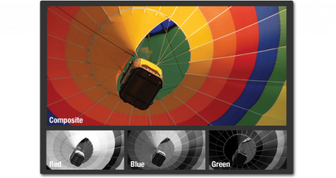 Three small grayscale images showing each channel of a digital photo of a hot air balloon. The blue channel shows a light gray area along the blue strip of the balloon. The composite shows a full color image with bright yellow, blue, orange and red stripes.