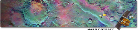 false-color infrared image from the Thermal Emission Imaging System (THEMIS) camera onboard the Mars Odyssey spacecraft
