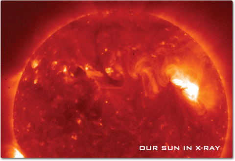 An x-ray image of the Sun showing detail of solar flares and sun spot activity that is not visible to our eyes.