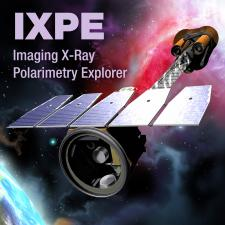 Computer-generated image of IXPE spacecraft