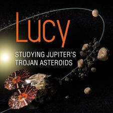Illustration of Lucy spacecraft near asteroids in space