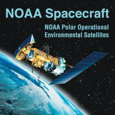 Illustration of NOAA spacecraft with earth in background