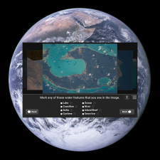 Image of computer application screen on top of earth image.
