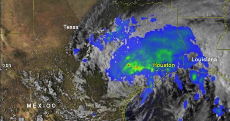 Satellite image of Hurricane Harvey's precipitation over Texas