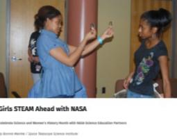 """Portion of a STAR_Net page with image of two girls and the title """"Girls STEAM Ahead with NASA"""""""