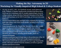 """Thumbnail of PowerPoint slide entitled """"Making the Sky: Astronomy in 3D: Workshop for Visually-Impaired High School & College Students"""""""