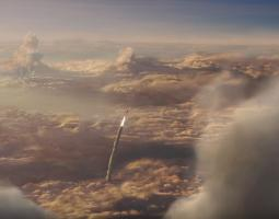 Rocket exiting the clouds