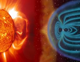 A visualization of the magnetosphere and solar wind interacting.