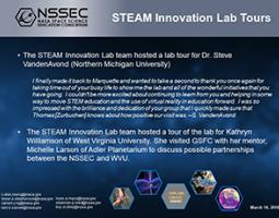 """Thumbnail of PowerPoint slide entitled """"STEAM Innovation Lab Tours"""""""