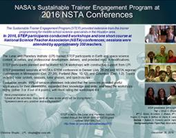 """Thumbnail of PowerPoint slide entitled """"NASA's Sustainable Trainer Engagement Program at 2016 NSTA Conferences"""""""