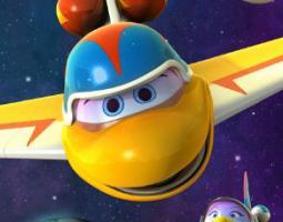 Cartoon yellow airplane with eyes and a mouth