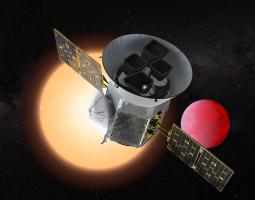 Artist concept of Tess satellite with red planet in background